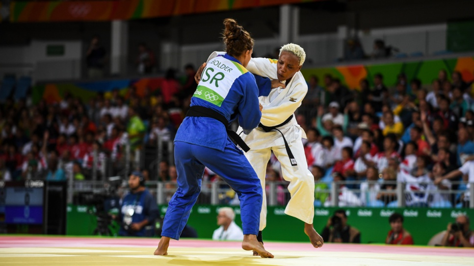 Yolande Mabika lost to tough Israeli opponent, Linda Bolderfor, but left the Games with her head high.